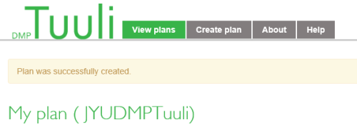 Data Management Planning Tool Tuuli.